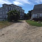 Monhegan House on the left, Church on the right