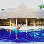Stefan enjoying the privacy of our awesome pool in our villa at Dusun