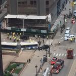 Bus accident seen from Comfort Suites Michigan Ave looking South