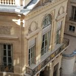 View of entrance to Palais Royal Gardens from balcony