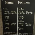 Schedule for men and women during the week- and a sample of the private rest bed/ changing room