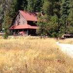 View of the main lodge from the meadow.