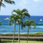 View from lanai of dive boats off shore