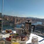 Breakfast overlooking the port