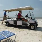 golf card offering beach service for food/drink