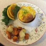 Puffed eggs with roasted potatoes