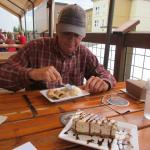 "Terry enjoying his ""Hoppy Apple Pie"" with David's AWESOME Banana Cheesecake in the foreground"