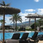 View from the sunbed by the pool