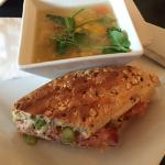Fall harvest soup and half a panini