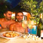A romantic evening drink by our pool at our villa