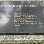 Plaque depicting the history of the Peninsula hotel