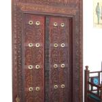 Exquisite wooden door in the lobby
