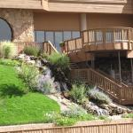 main building waterfall and deck