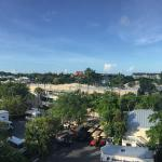 Panoramic of Key West / Duval St. with Mallory Square straight ahead (red brick building in cent