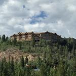 Looking up at the lodge from the road