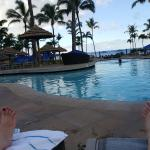 Our feet Poolside