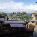 View from lobby terrace overlooking pools and ocean