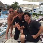 By the pool with Ricardo and Adrian