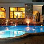 The hotel pool at night.