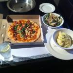 Pizza, mash and pear/rocket salad