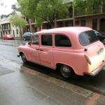 Pink Taxi that provides free transportation within designated area