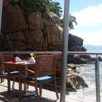 Some pictures of Blaze restaurant,  swim up pool room view,  spa view,  pastries in the coffee s