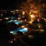 night view from our room of the main pool area