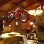Cool Mtn Bike hanging as art in the Main Woodsy reception area