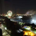 Night time view of the falls and fireworks from our room