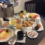our in room special Anniversary breakfast was huge!  We wondered who was joining us!