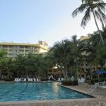 view of the hotel across the pool