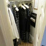 The closet with my skirts hanging on the floor