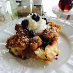 Blueberry bread pudding for breakfast