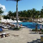 The two main pools - the one closer to the beach has an infinity edge