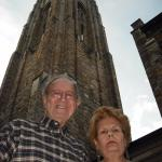 My husband & I in front of the bell tower