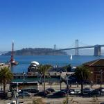 View from terrace, Ferry bldg to left, Bay Bridge to right
