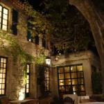 The patio at night