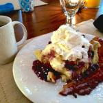 One of the fantastic breakfasts-- blueberry cream cheese french toast