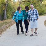 Family enjoys a beautiful fall day walking the Animas River Trail