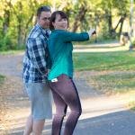 Couple enjoys the beautiful fall day along the Animas River Trail