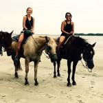 Horseback riding on the beach during sunset