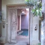 room entrance with a private pool