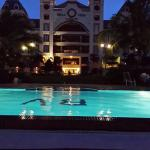 The Hotel from the pool area at night