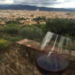 At the edge of the property overlooking Florence, enjoying a glass of their wine