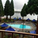 View from our room of pool area and Columbia River