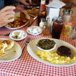 Grilled and regular biscuits, huge sausage patty, eggs, and ...collards!