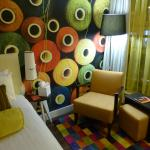 Colourful décor in a room on the first floor