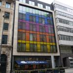 Colourful exterior of the hotel