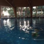 The indoor pool. Heated. Two saunas nearby.