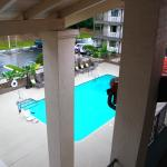 view of pool from doorway of our room